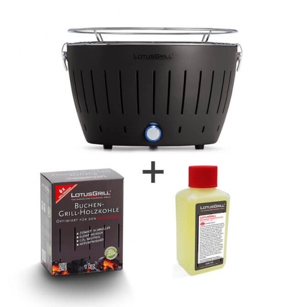 Set LotusGrill antracite incl. pasta combustibile (200 ml) e carbone (1 kg)