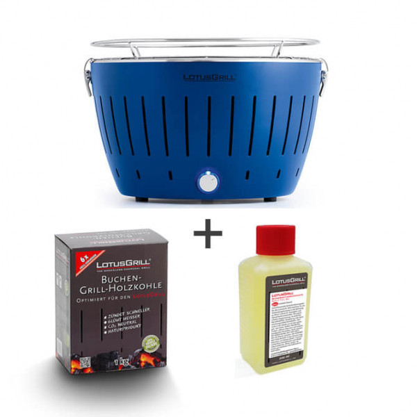Set LotusGrill blu incl. pasta combustibile (200 ml) e carbone (1 kg)