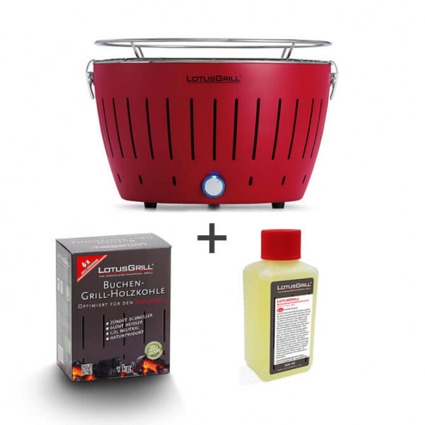 Set LotusGrill rosso incl. pasta combustibile (200 ml) e carbone (1 kg)