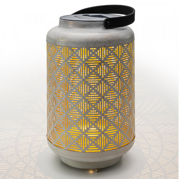 Lanterna solare Vintage, oro bianco M