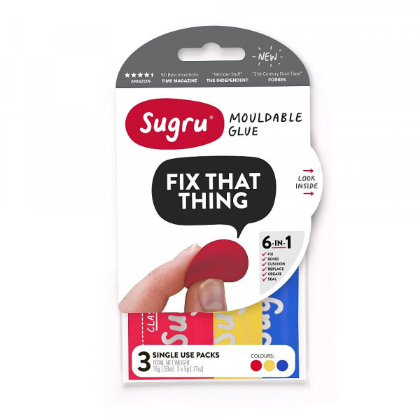 Sugru Red, Yellow, Blue 3 x 5g mini packs